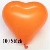 Herzluftballons 12-14 cm, Orange, 100 Stück