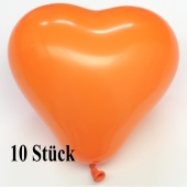 Herzluftballons, 8-12 cm, orange, 10 Stück