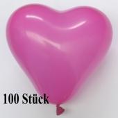 Herzluftballons, 8-12 cm, pink, 100 Stück