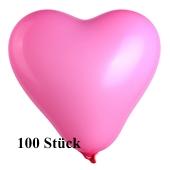Herzluftballons Mini, 8-12 cm, rosa, 100 Stück