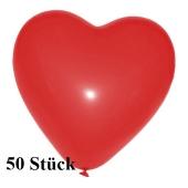Herzluftballons, 8-12 cm, rot, 50 Stück