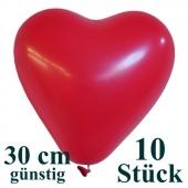 Herzluftballons 10 Stück, Rot, günstig, preiswert, billig, Latex-Luftballons in Herzform