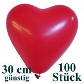 Herzluftballons 100 Stück, Rot, günstig, preiswert, billig, Latex-Luftballons in Herzform