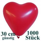Herzluftballons 1000 Stück, Rot, günstig, preiswert, billig, Latex-Luftballons in Herzform