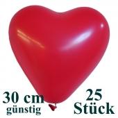 Herzluftballons 25 Stück, Rot, günstig, preiswert, billig, Latex-Luftballons in Herzform