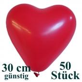 Herzluftballons 50 Stück, Rot, günstig, preiswert, billig, Latex-Luftballons in Herzform