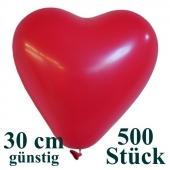 Herzluftballons 500 Stück, Rot, günstig, preiswert, billig, Latex-Luftballons in Herzform