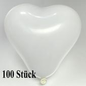 Herzluftballons, 8-12 cm, weiss, 100 Stück