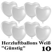 Herzluftballons weiß, günstig, 10 Stück