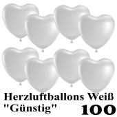 Herzluftballons weiß, günstig, 100 Stück