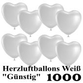 Herzluftballons weiß, günstig, 1000 Stück