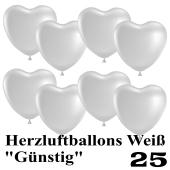 Herzluftballons weiß, günstig, 25 Stück