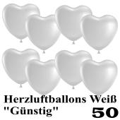 Herzluftballons weiß, günstig, 50 Stück