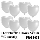 Herzluftballons weiß, günstig, 500 Stück