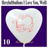 Herzluftballons I Love You, Weiß, 30 cm, 10 Stück