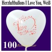 Herzluftballons I Love You, Weiß, 30 cm, 100 Stück