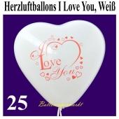 Herzluftballons I Love You, Weiß, 30 cm, 25 Stück