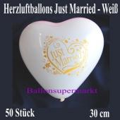 Herzluftballons Just Married, weiß, 30 cm, 50 Stück