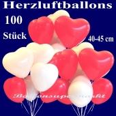 Herzluftballons groß, 40-45 cm, Rot und Weiß, Luftballons aus Latex in Herzform, 100 große rote und weiße Herzballons