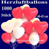 Herzluftballons groß, 40-45 cm, Rot und Weiß, Luftballons aus Latex in Herzform, 1000 große rote und weiße Herzballons