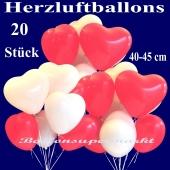 Herzluftballons groß, 40-45 cm, Rot und Weiß, Luftballons aus Latex in Herzform, 20 große rote und weiße Herzballons