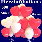 Herzluftballons groß, 40-45 cm, Rot und Weiß, Luftballons aus Latex in Herzform, 500 große rote und weiße Herzballons