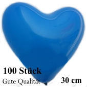 Herzluftballons Blau, Gute Qualität, 100 Stück, 30 cm