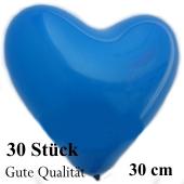 Herzluftballons Blau, Gute Qualität, 30 Stück, 30 cm