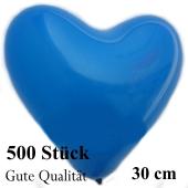 Herzluftballons Blau, Gute Qualität, 500 Stück, 30 cm