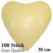 Herzluftballons Elfenbein, Gute Qualität, 100 Stück, 30 cm