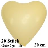 Herzluftballons Elfenbein, Gute Qualität, 20 Stück, 30 cm