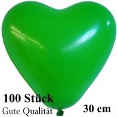 Herzluftballons Grün, Gute Qualität, 100 Stück, 30 cm
