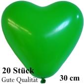 Herzluftballons Grün, Gute Qualität, 20 Stück, 30 cm