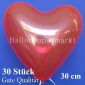 Herzluftballons Kristallrot, Gute Qualität, 30 Stück, 30 cm