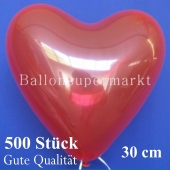 Herzluftballons Kristallrot, Gute Qualität, 500 Stück, 30 cm