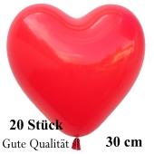 Herzluftballons Rot, Gute Qualität, 20 Stück, 30 cm