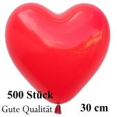 Herzluftballons Rot, Gute Qualität, 500 Stück, 30 cm