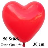 Herzluftballons Rot, Gute Qualität, 50 Stück, 30 cm