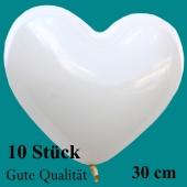Herzluftballons Weiß, Gute Qualität, 20 Stück, 30 cm