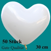 Herzluftballons Weiß, Gute Qualität, 50 Stück, 30 cm