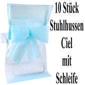 Stuhlhussen, Himmelblau, mit Schleife, 10 Stück
