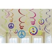Hippie-PartydekorationPartydekoration, Deko-Wirbler, Swirls