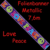 Folien-Banner Hippie-Party, Love Peace