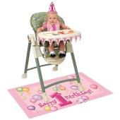 Hochstuhl Deko-Set zum 1. Kindergeburtstag, Maedchen, Rosa Luftballons