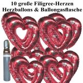 Ballons Helium Set Hochzeit, 10 große filigrane Herzballons aus Folie, rot-silber, mit Ballongasflasche