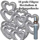 Ballons Helium Set Hochzeit, 10 große filigrane Herzballons aus Folie, weiß-silber, mit Ballongasflasche