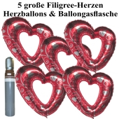 Ballons Helium Set Hochzeit, 5 große filigrane Herzballons aus Folie, rot-silber, mit Ballongasflasche