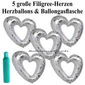 Ballons Helium Set Hochzeit, 5 große filigrane Herzballons aus Folie, weiß-silber, mit Ballongasflasche