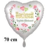 Großer Herzluftballon Hochzeit - Herzlichen Glückwunsch, inklusive Helium