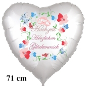 Hochzeit - Herzlichen Glückwunsch. 71 cm großer Herzballon zur Hochzeit, Folienballon ohne Helium